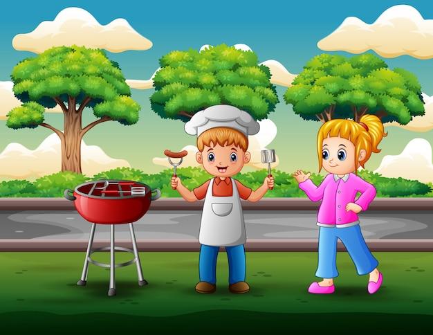 Crianças, tendo, churrasco, em, quintal Vetor Premium