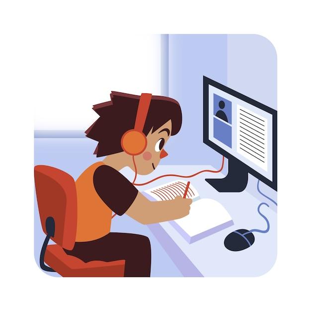 Crianças, tendo o conceito de aulas on-line Vetor Premium