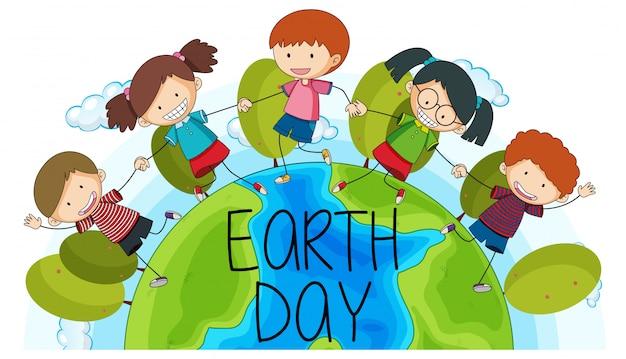 Crianças, terra, dia, logotipo Vetor grátis