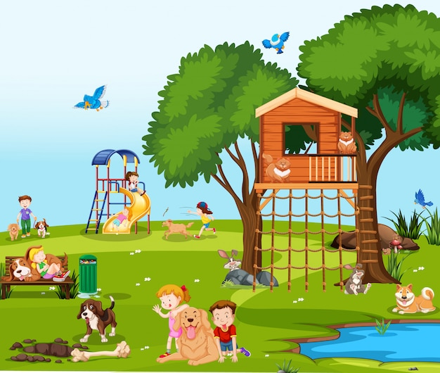 Crianças, tocando, com, animais estimação, parque Vetor grátis