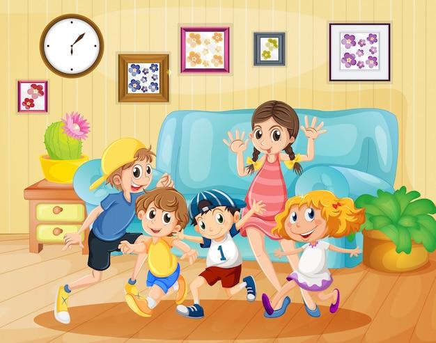 Crianças, tocando, em, a, sala de estar Vetor grátis