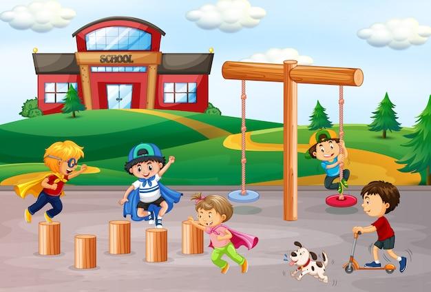 Crianças, tocando, em, escola, pátio recreio Vetor grátis