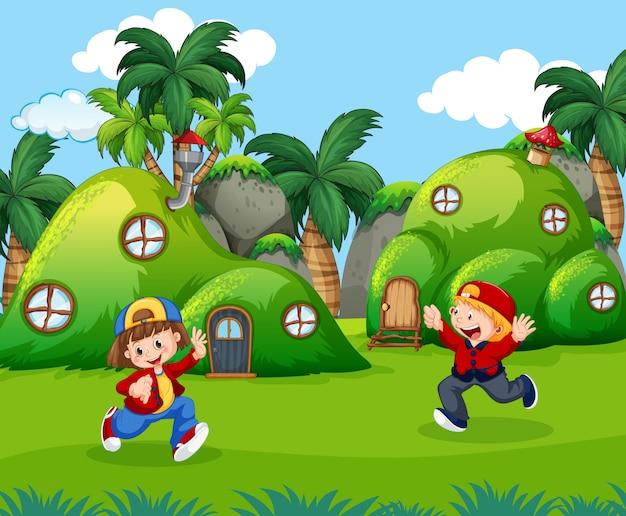 Crianças, tocando, em, fantasia, terra Vetor grátis