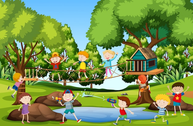 Crianças, tocando, em, pátio recreio Vetor grátis