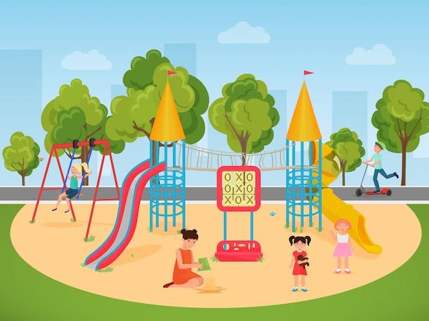 Crianças, tocando, em, pátio recreio Vetor Premium