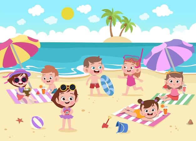 Crianças, tocando, praia, ilustração Vetor Premium