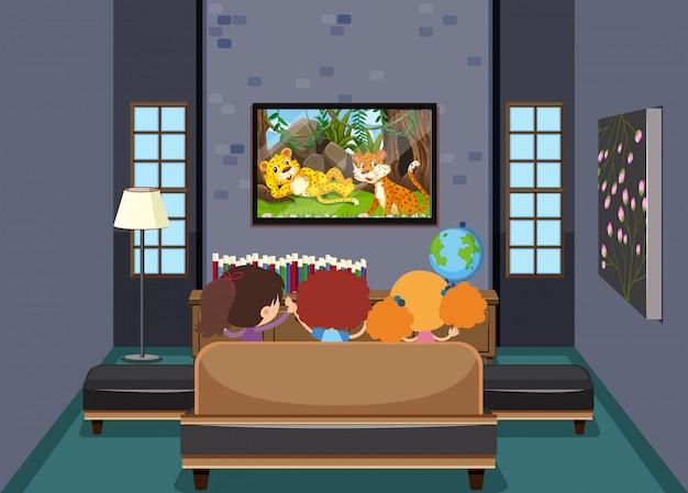 Crianças, tv assistindo, em, sala de estar Vetor Premium