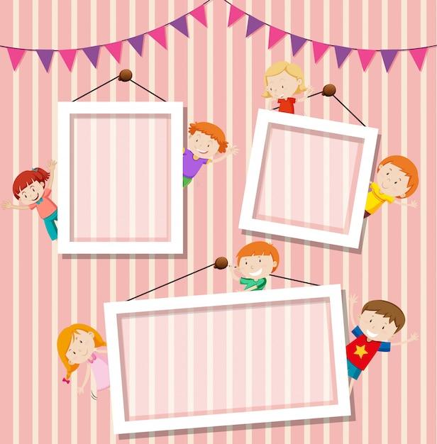 Crianças um fundo de moldura de foto Vetor grátis