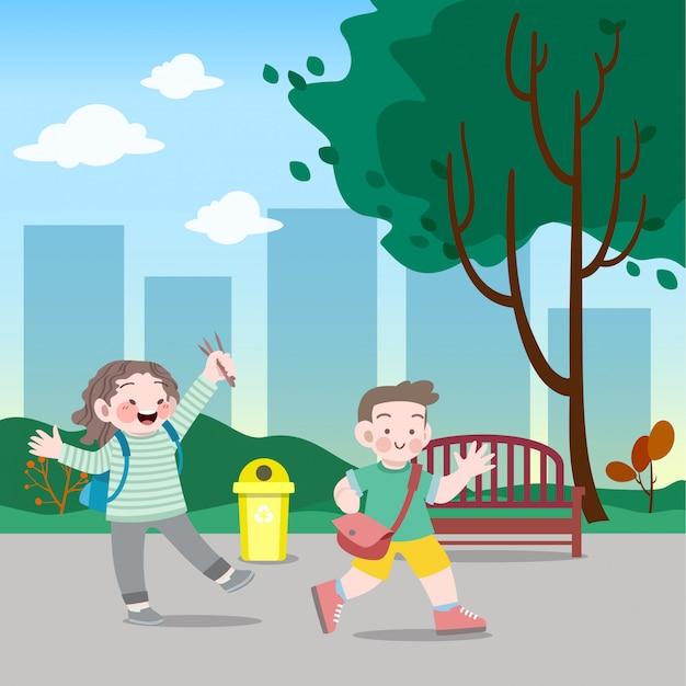 Crianças vão para ilustração vetorial de escola Vetor Premium
