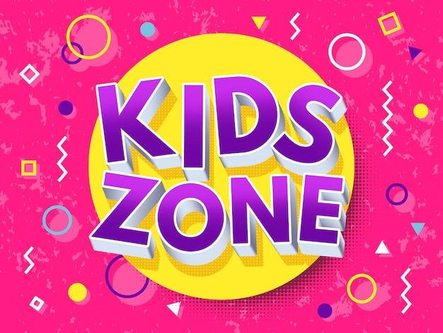 Crianças zona inscrição dos desenhos animados. Vetor Premium