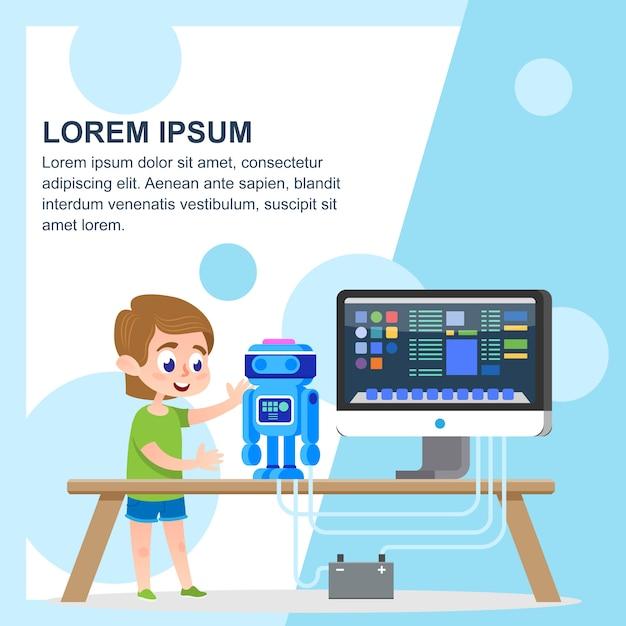 Criando um modelo de robô Vetor Premium