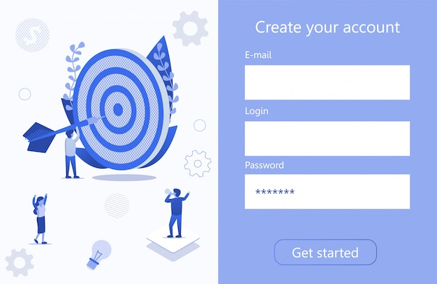 Criar conta alvo de negócio motivação página 3d Vetor Premium