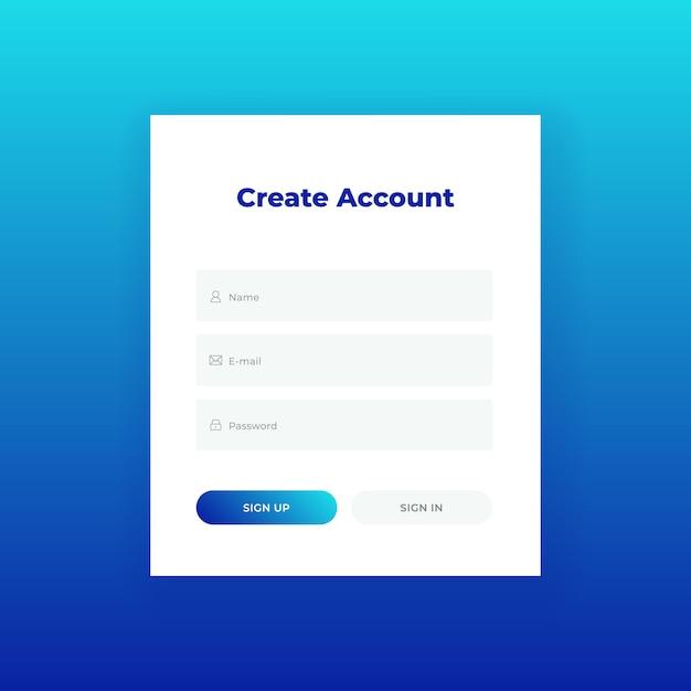 Criar conta. formulário de login para o modelo de design do site. ui / ux Vetor Premium