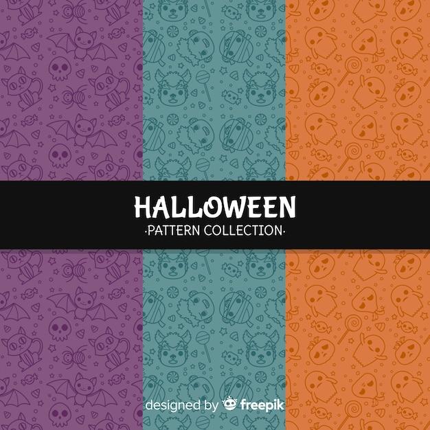 Criativa coleção de fundo de padrão de halloween Vetor grátis