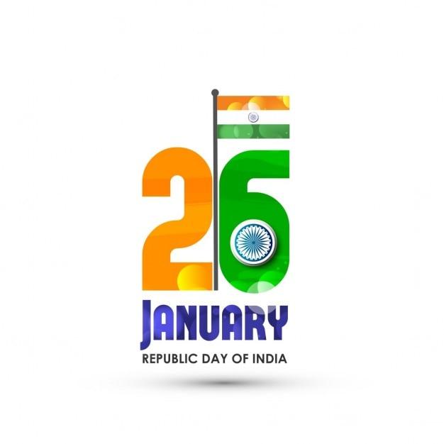 Criativa indiana cores da bandeira do texto 26 de janeiro com a ashoka roda Vetor grátis