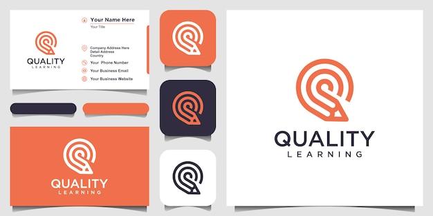 Criativa letra q com inspiração de logotipo de conceito de lápis. e design de cartão de visita Vetor Premium