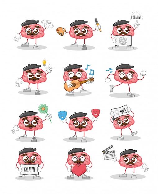 Criatividade do cérebro dos desenhos animados Vetor grátis