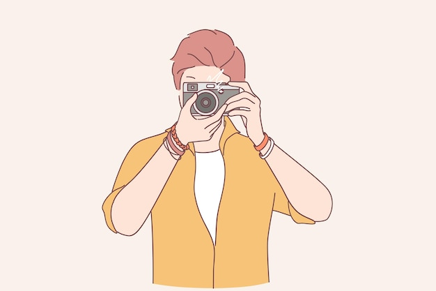 Criatividade, fotografia, ilustração do conceito de artista Vetor Premium
