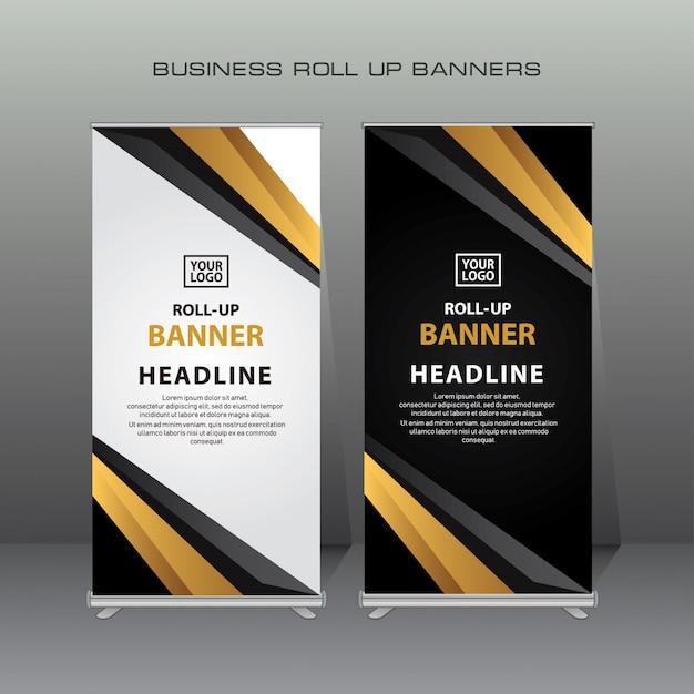 Criativo arregaçar modelo de design de bandeira na cor ouro e preto Vetor Premium
