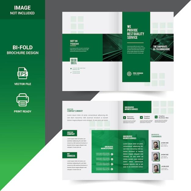 Criativo design de modelo de folheto corporativo bi-fold Vetor Premium