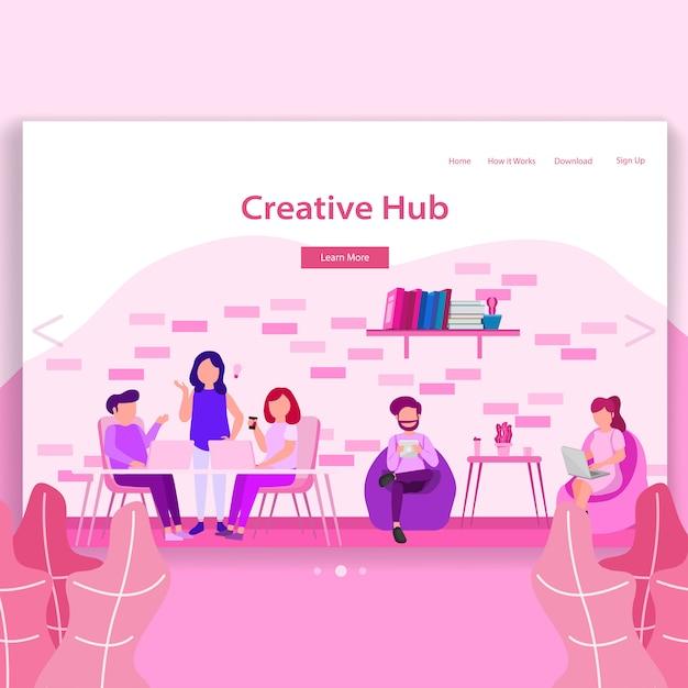Criativo hub coworking espaço landing page ilustração Vetor Premium
