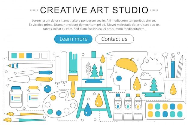 Criativo ou conceito de estúdio de arte pintor Vetor Premium