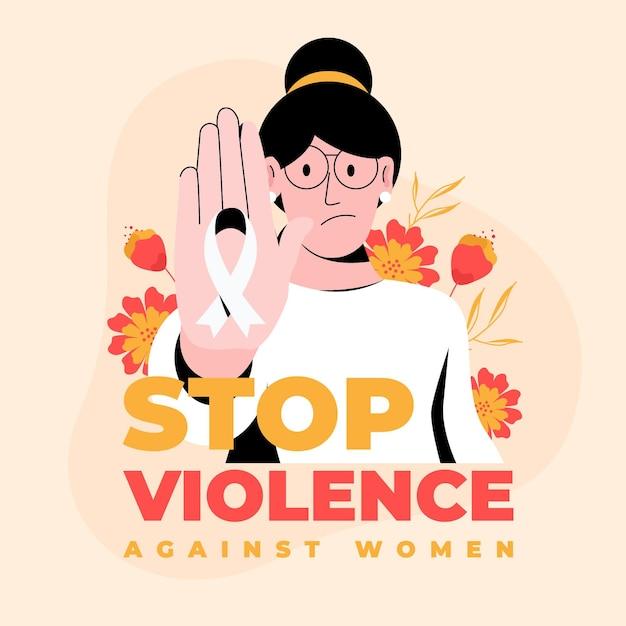 Criativo pare a violência contra a mulher, texto e mulher ilustrada Vetor grátis