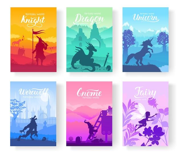 Criaturas de fantasia de velhos mitos e contos de fadas. modelo de revistas, cartaz, capa de livro, banners. Vetor Premium