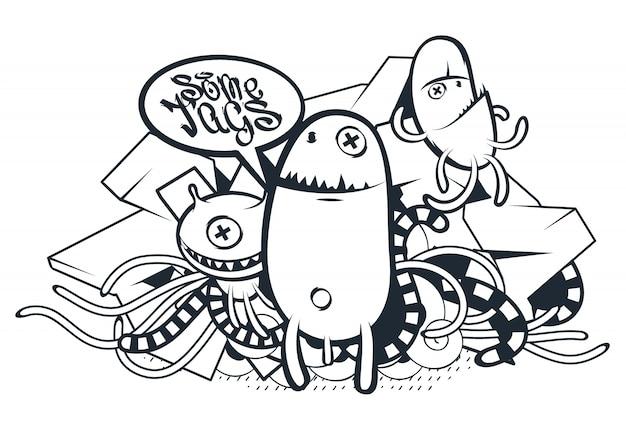 Criaturas desenhadas à mão em estilo graffiti Vetor grátis