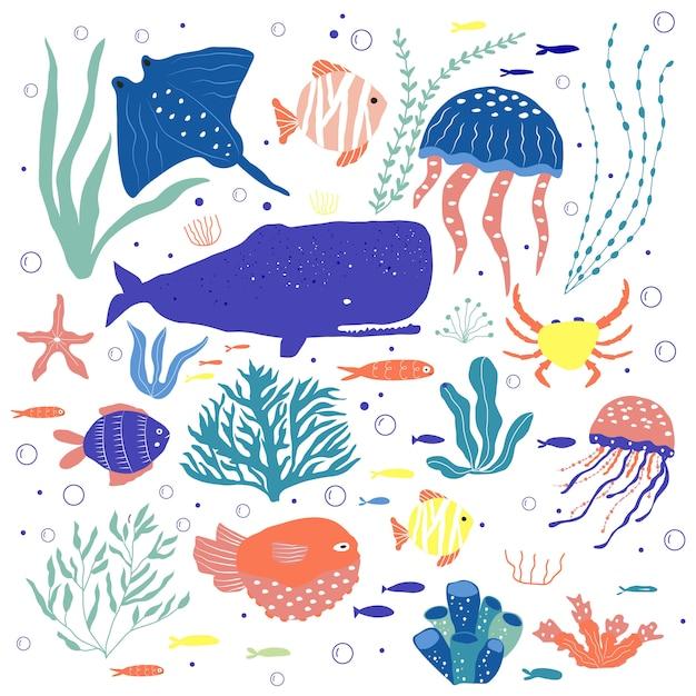 Criaturas subaquáticas polvo, baleia, peixe, água-viva, caranguejo, peixe-palhaço, plantas marinhas e corais, conjunto com animais marinhos Vetor Premium