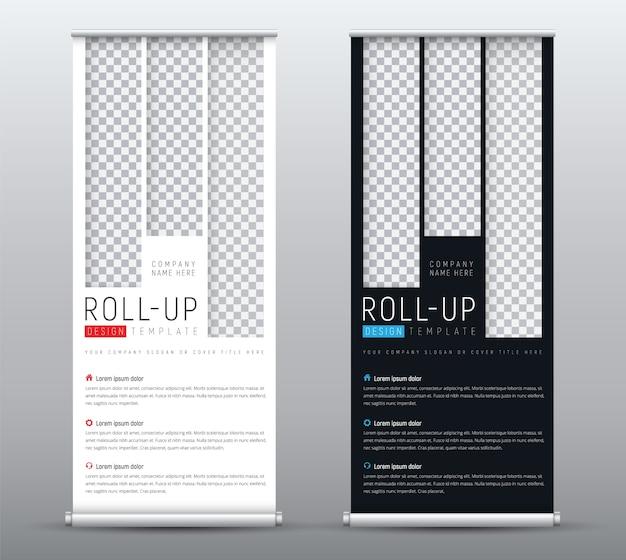 Crie um banner roll-up padrão para apresentações com retângulos verticais para a imagem. Vetor Premium