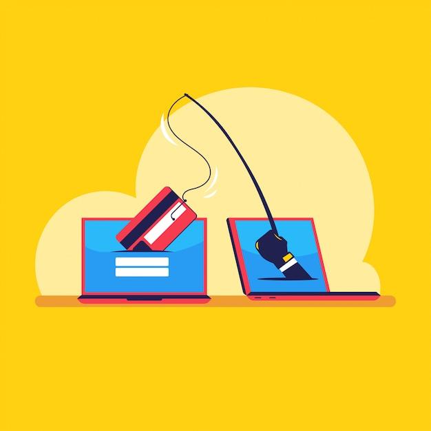 Crime cibernético do conceito de ilustração de hackers roubando dados e fazendo phishing Vetor Premium