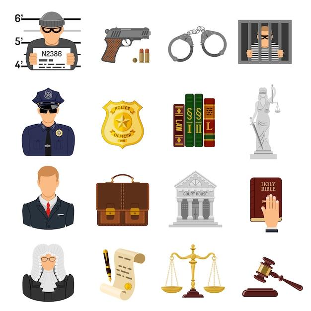 Crime e castigo ícones plana Vetor Premium