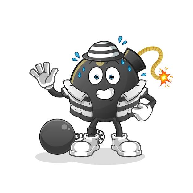 Criminoso de bomba. personagem de desenho animado Vetor Premium