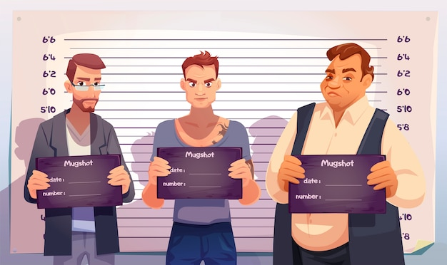 Criminosos com placas de mugshot na delegacia Vetor grátis