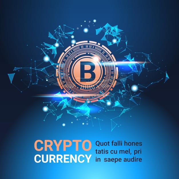 Cripto moeda bandeira com cópia espaço bitcoin no fundo azul moeda digital tecnologia dinheiro Vetor Premium