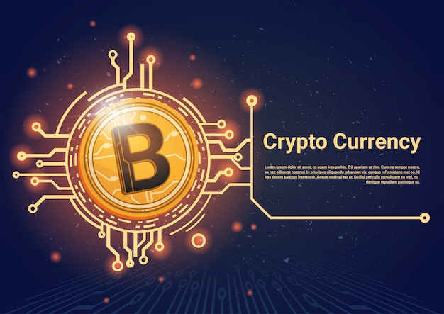Cripto moeda bitcoin banner com lugar para texto digital web dinheiro conceito Vetor Premium