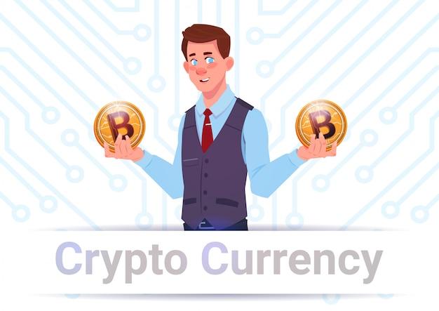 Cripto, moeda corrente, bandeira, homem, segurando, dourado, bitcoins, sobre, motherboard, circuito, fundo Vetor Premium