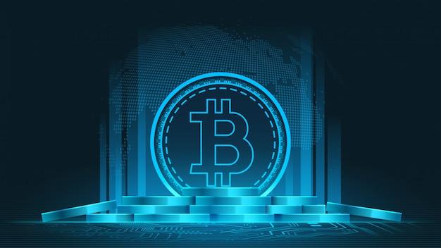 Criptomoeda bitcoin Vetor Premium