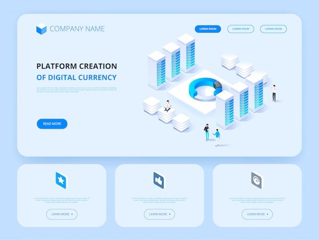 Criptomoeda e blockchain. moeda digital de criação de plataforma. cabeçalho do site. negócios, análise e gerenciamento. Vetor Premium