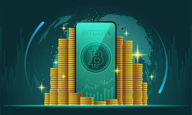 Criptomoeda e smartphone com bitcoin na tela Vetor Premium