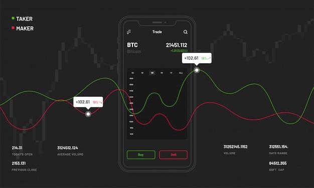 Criptomoedas negociação mobile app. Vetor Premium