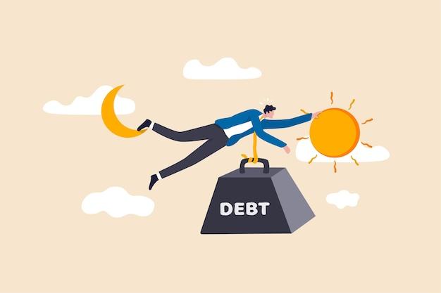 Crise da dívida para o homem do salário, trabalhando duro dia até a noite ganhando dinheiro para pagar a dívida do conceito de hábitos de gastos excessivos Vetor Premium
