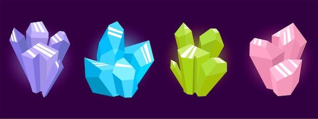 Cristais mágicos de cores diferentes empilhados. Vetor Premium