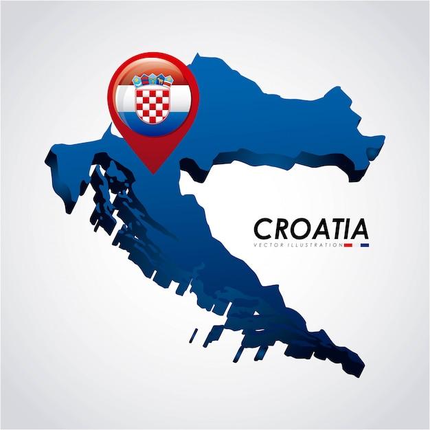 Croácia design sobre ilustração vetorial de fundo cinza Vetor Premium