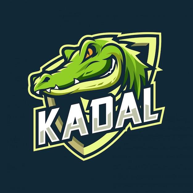 Crocodile esport logo Vetor Premium