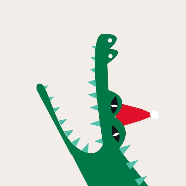 Crocodilo aquático dos desenhos animados, vestindo um vetor de chapéu de natal Vetor grátis