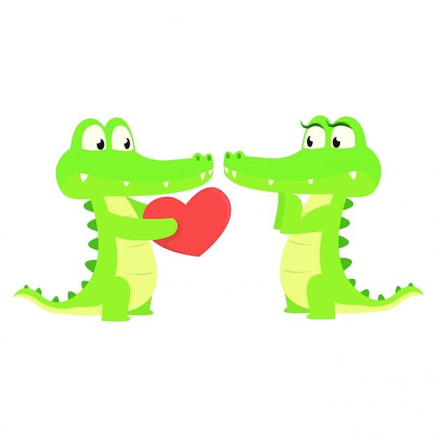 Crocodilo bonito dar um presente de amor para seu parceiro Vetor Premium
