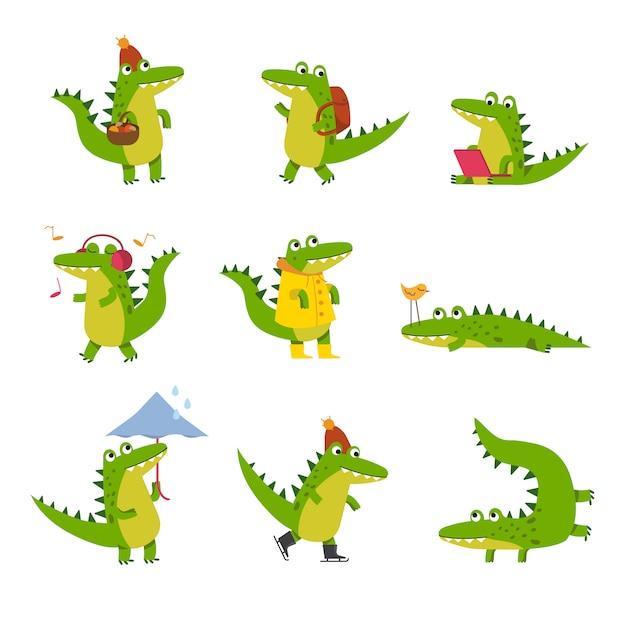 Crocodilo bonito dos desenhos animados em atividades diárias, personagens coloridos ilustrações Vetor Premium