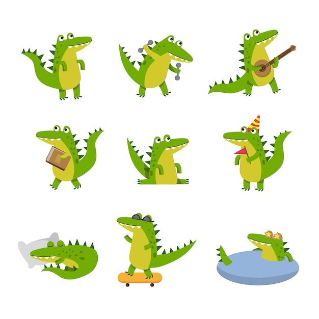 Crocodilo bonito dos desenhos animados em diferentes situações, personagens coloridos ilustrações Vetor Premium